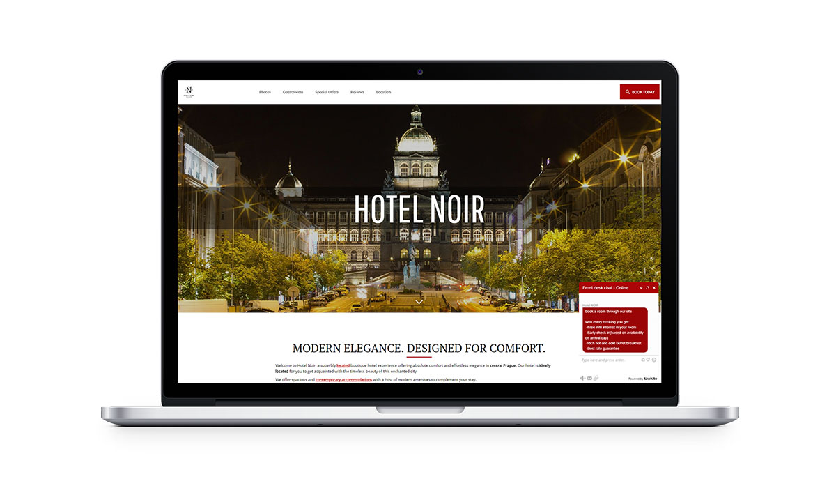 Chatbox on hotel website