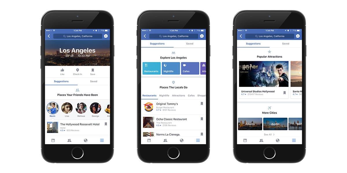 Facebook's search functionality City Guides