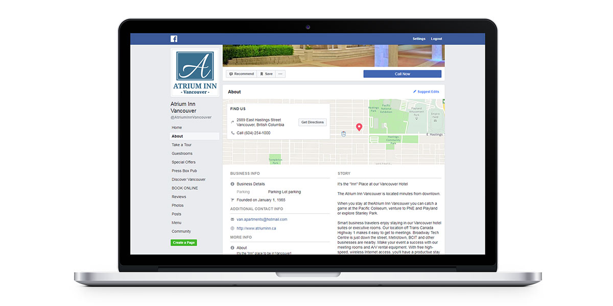 fill out the about section on your facebook page