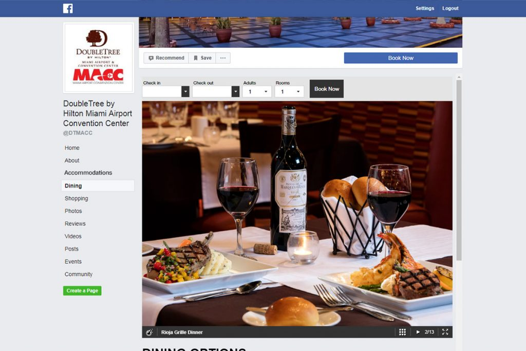 showcase your dining options on your facebook page