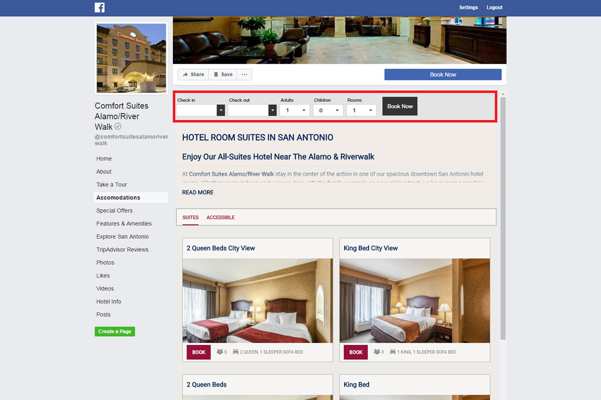 Example of Vizlly Facebook App with booking engine integration