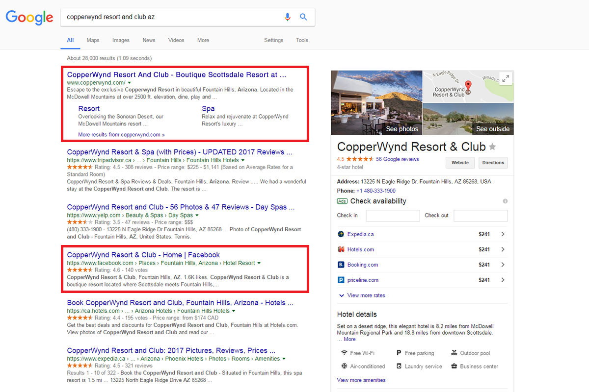 dominate page 1 for your branded keywords