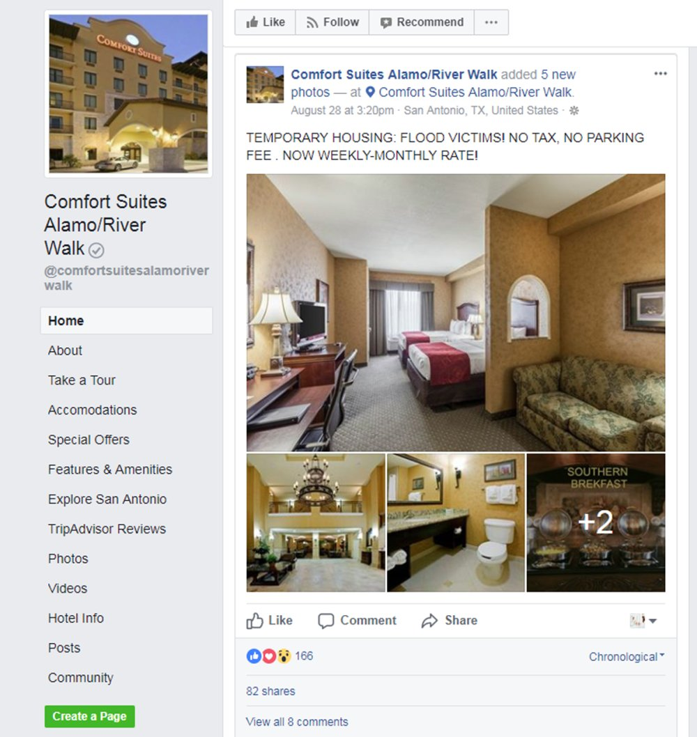 comfort suites hurrican relief facebook post