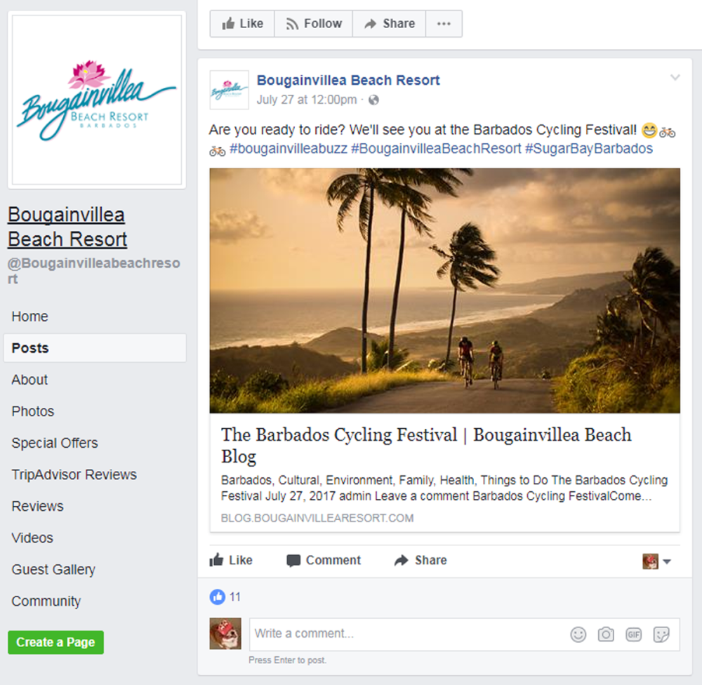 bougaiville beach resort facebook post