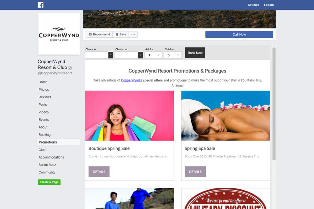 special offers and packages promoted on facebook