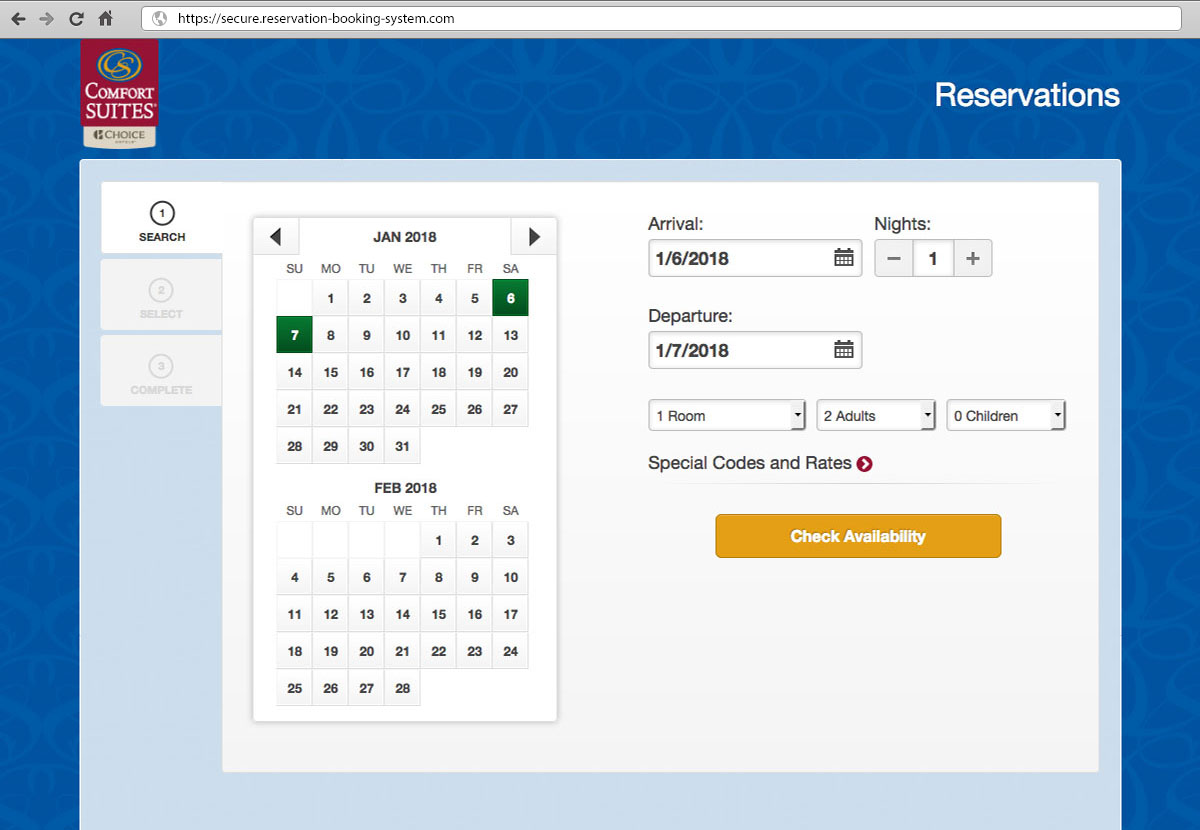 select dates page, bookingsuite website