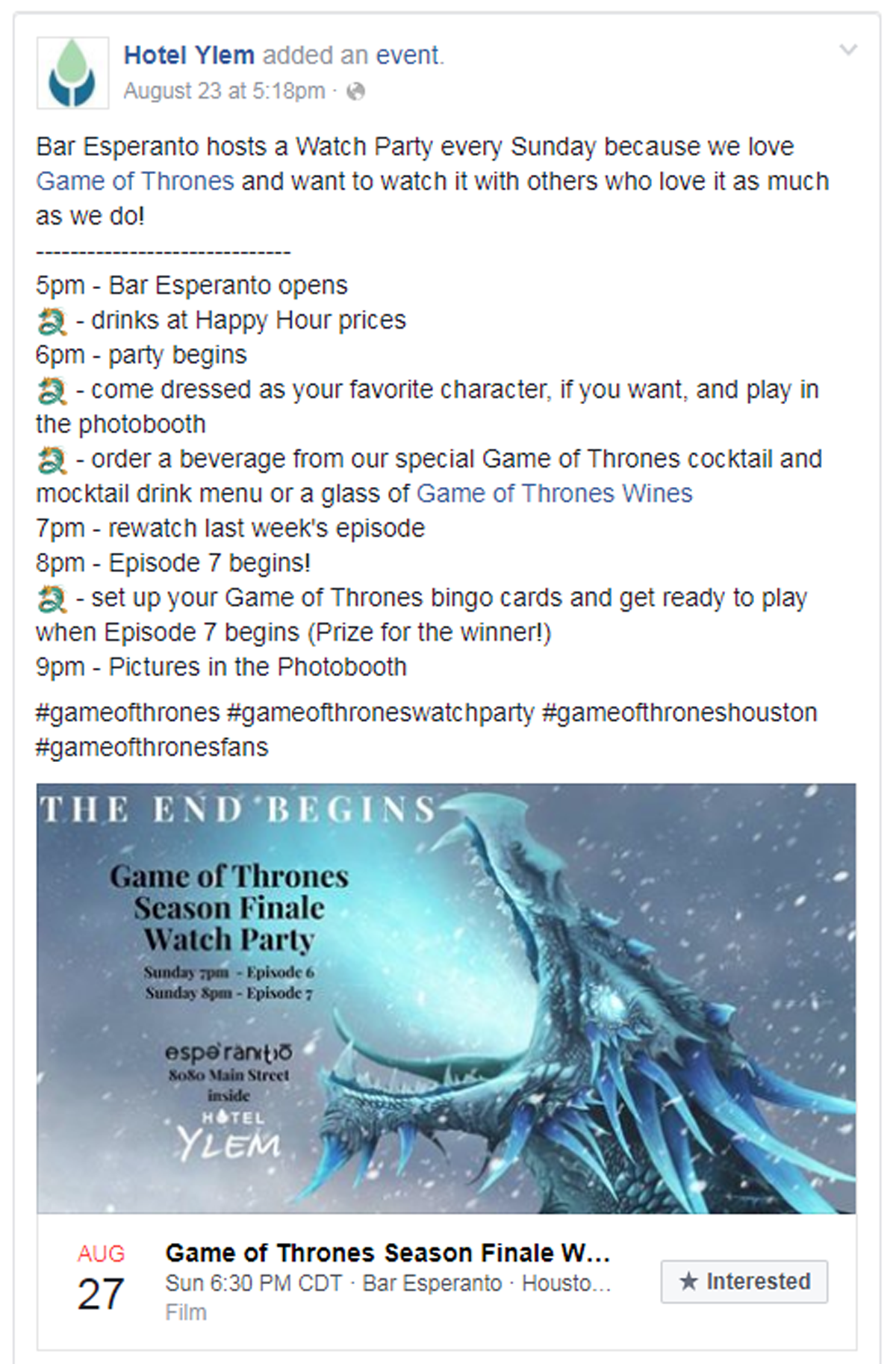 game of thrones viewing party facebook post