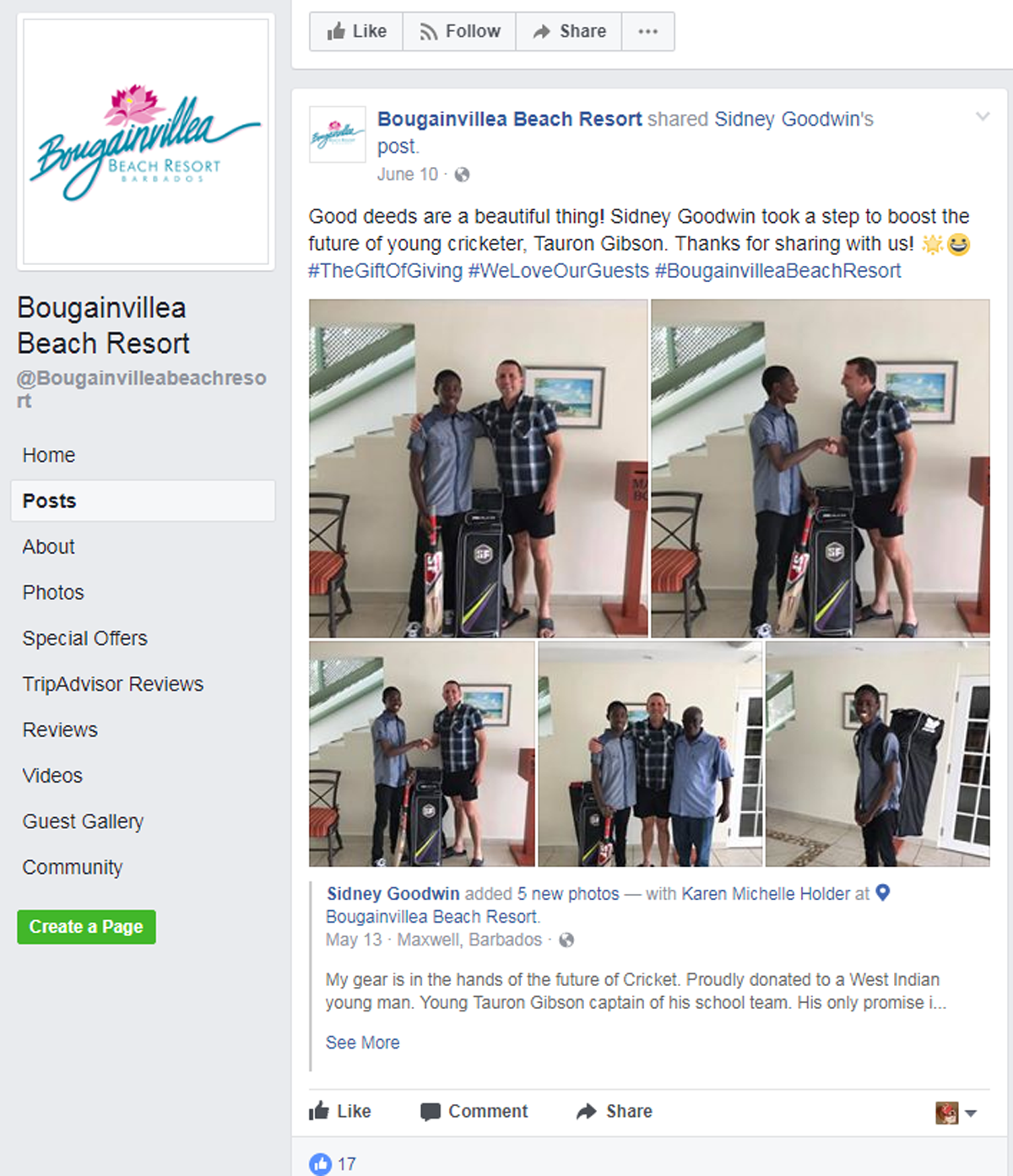 user-generated content facebook post by th bougainvillea beach resort
