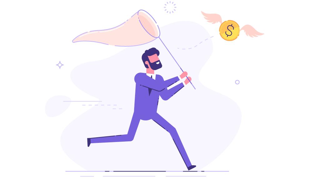 Illustration of business man chasing flying dollar