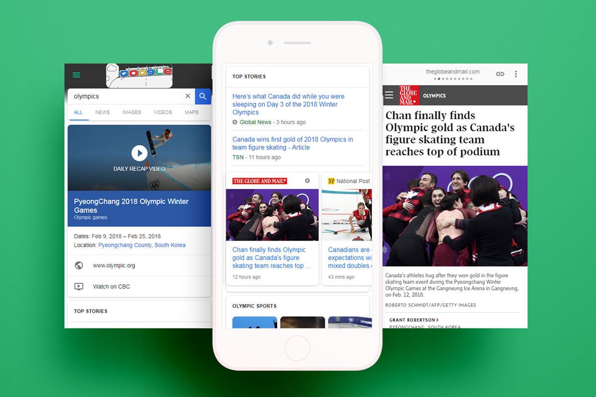 news sites using google amp pages